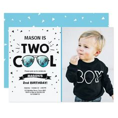 Two Cool Birthday Invitation Boy 2nd Blue Party For Boys Happy