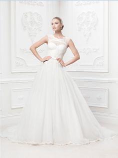 Truly Zac Posen Lace and Tulle Ballgown with Illusion Neckline Style ZP345016 #davidsbridal #weddingdress