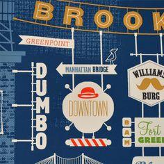 brooklynの手刷りポスター BROOKLYN CITY PRINT - Signs - 世界が広がる雑貨屋 tabisl BAZAR タビスルバザール