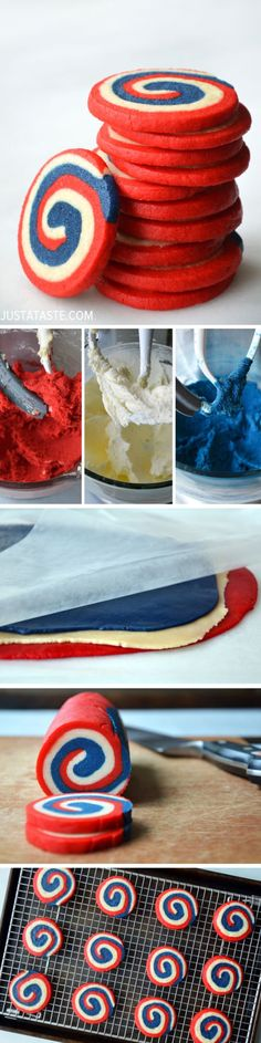 Red, White and Blue Pinwheel Icebox Cookies.would be awesome for a of july picnic/bbq dessert Bbq Dessert, Dessert Recipes, Holiday Treats, Holiday Recipes, Icebox Cookies, Delicious Desserts, Yummy Food, 4th Of July Desserts, Patriotic Desserts