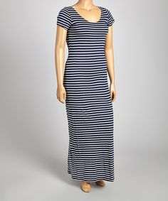 Loving this Poliana Plus Navy & White Stripe Short-Sleeve Maxi Dress - Plus on #zulily! #zulilyfinds