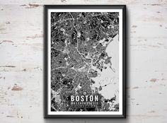 Boston Map with Coordinates, Boston Wall Art, Boston Map, Map Art, Map Print…