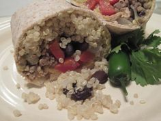 Quinoa Burritos with Creamy Chipotle Sauce | OAMC from Once A Month Mom