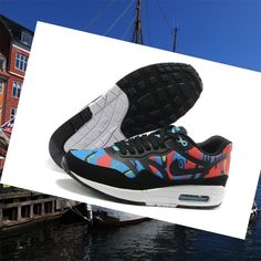 Nike Air Max 1 Premium Tape Blue Black Red Men Sneakers HOT SALE! HOT PRICE!