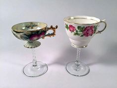 Upcycle old tea cups into stemmed wine glasses >> http://www.diynetwork.com/made-and-remade/make-it/how-to-turn-tea-cups-into-cocktail-glasses?soc=pinterest