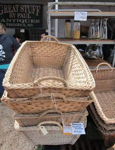 These baskets are ideal for storing and stashing my clutter!!! French laundry baskets Great Stuff by Paul Antiques