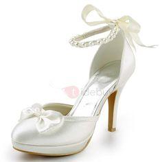 #TideBuy - #TideBuy Silk Fabric Beads Bow Wedding Shoes - AdoreWe.com