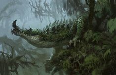 ArtStation - Old paintings and sketch dump, Brent Hollowell Forest Creatures, Alien Creatures, Fantasy Creatures, Mythical Creatures, Alien Concept Art, Creature Concept Art, Creature Design, Fantasy Monster, Monster Art