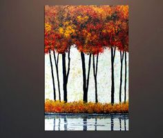 Original Painting AutumnTrees Forest Original Painting Textured Landscape #Abstract