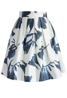 Contrast Watercolor Skirt in White - New Arrivals - Retro, Indie and Unique Fashion