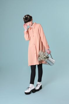 Polka Detail Swing Coat Coral - http://www.thewhitepepper.com/collections/coats-jackets/products/polka-detail-swing-coat-coral