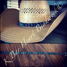 Beaded hat band. K bar heart beadwork.  Www.facebook.com/kbarheartbeads