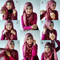 Tutorial Hijab Modern, Hijab Style Tutorial, Muslim Fashion, Hijab Fashion, Fashion Outfits, Women's Fashion, How To Wear Hijab, Turban Hijab, Muslim Hijab