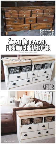 This old and dated dresser is almost unrecognizable after a little DIY face lift!