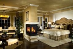 Traditional Master Bedroom with Carpet, metal fireplace, Taylor Slipper Chair by AllModern Custom Upholstery, Drapery Knobs