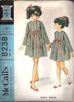 McCall's 8238 by Helen Lee © Featured as a dress for Betsy McCall in her April 1966 paper doll. Vintage Kids Clothes, Vintage Girls, Vintage Children, Vintage Outfits, Vintage Fashion, Childrens Sewing Patterns, Mccalls Sewing Patterns, Clothing Patterns, Dress Making Patterns