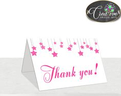 Little Star Baby shower girl twinkle THANK YOU card printable with glitter pink theme, digital jpg pdf, instant download - bsg01 #babyshowergames #babyshowerdecorations