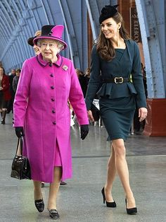 FIRST DIAMOND JUBILEE TOUR  Joining her royal bestie, the Duchess of Cambridge escorts Queen Elizabeth II to a March 8 fashion show at De Montfort University to help kick off the monarch's Diamond Jubilee tour.