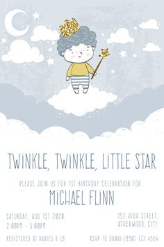 Celebrate your little boy's birthday in style with this twinkl twinkle little star party invitation. Gather your family and friends to share this special milestone for your precious little prince. Personalise it using the order form. Send it your way, print, online, text or instant message. You choose how to share it with your family and friends. Boy Birthday Invitations, Party Invitations, 1st Boy Birthday, It's Your Birthday, Birthday Celebration, Birthday Parties, Online Text, Order Form, Star Party