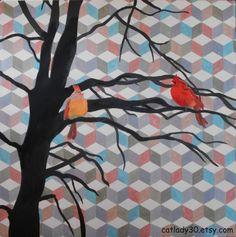 Acrylic Art : Barn Quilt Acrylic print. Cardinal bird by CatLady30