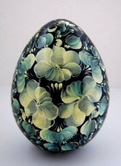 Russian Wooden Egg Hand Painted Blue and White Church