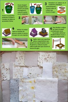 Proceso para reciclar papel y el resultado, usando imaginación.