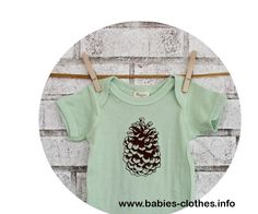 Pine Cone Baby Onepiece, Organic Cotton Infant Clothing, Hand Screenprinted, Outdoors, Camping, Spring Clothing, Pastel Mint Green One Piece - http://www.babies-clothes.info/pine-cone-baby-onepiece-organic-cotton-infant-clothing-hand-screenprinted-outdoors-camping-spring-clothing-pastel-mint-green-one-piece.html