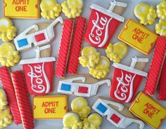 Movies Cookies By oh sugar admit ticket yellow popcorn red vine candy red coke cup Fancy Cookies, Iced Cookies, Cut Out Cookies, Cute Cookies, Cupcake Cookies, Sugar Cookies, Circus Cookies, Birthday Cookies, Cookie Frosting