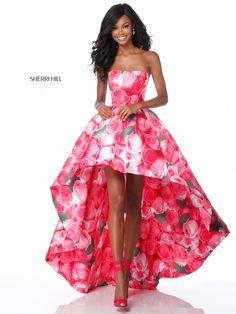 Sherri Hill 51791 Pink Print A Line Strapless Prom Dress High Low Prom Dresses, Sherri Hill Prom Dresses, Homecoming Dresses, High Low Gown, Gala Dresses, Event Dresses, Midi Dresses, Spring Dresses, Pretty Dresses