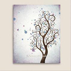 Watercolor Art Tree Print Teen Girls Room by NaturesHeavenlyArt