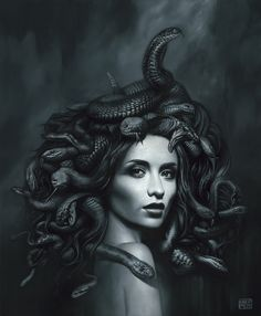 Medusa Painting, Medusa Art, Medusa Gorgon, Dark Fantasy Art, Dark Art, Medusa Pictures, Medusa Tattoo Design, Snake Art, Arte Cyberpunk