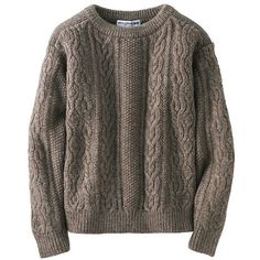 UNIQLO Women Idlf Cable Boat Neck Sweater (205 MYR) ❤ liked on Polyvore featuring tops, sweaters, brown cable knit sweater, loose tops, boat neck sweater, cable sweater and boatneck top