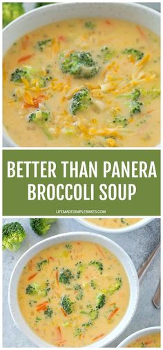 Thick, cheesy and loaded with broccoli! This Better Than Panera Broccoli soup is a delicious homemade version of a restaurant favorite. Better Than Panera Broccoli Soup - Life Made Si Brocoli Soup, Cheesy Broccoli Soup, Broccoli Soup Recipes, Broccoli Cheddar, Broccoli And Carrot Soup, Broccoli Casserole, Cauliflower Soup, Cooking Recipes, Healthy Recipes