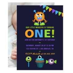 1st Birthday Little Monster Boy Party Invitation - birthday gifts party celebration custom gift ideas diy