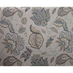 This is a blue, gray, brown and green floral linen drapery fabric, suitable for any decor in the home or office. Perfect for pillows, drapes and bedding.v117HNF