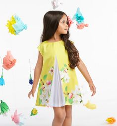 Beautiful Oriental blossom print dress with inset pleats at Anne Kurris spring 2015 kids fashion
