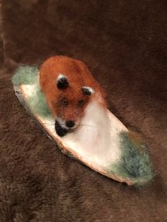 Needle felted fox - Felted Fox Needle Felted Fox Handmade with Natural Wool Fox Is Attached To Wood Base Fox Gift – Needle felted fox Needle Felted Animals, Felt Animals, Needle Felting, Felt Fox, Felt Gifts, Soft Sculpture, Sculptures, Quirky Gifts, Unusual Gifts