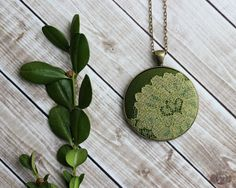 Spring Moss Necklace, Vintage Green Lace Jewelry, Woodland Forest Nature Jewelry, Olive Green, Moss Green Necklace, Garden Green Pendant on Etsy, $24.00