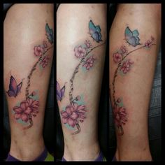 Apple blossom branch and butterfly tattoo. Thank u Cortney for trusting me with your memorial piece.