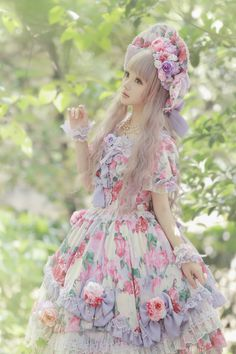 I love the purple in this dress ♡ sweet lolita ♡ kawaii ♡ cute ♡ Japanese fashion ♡ Harajuku Fashion, Japan Fashion, Kawaii Fashion, Cute Fashion, Girl Fashion, Mode Mori, Doll Style, Mode Lolita, Lolita Style