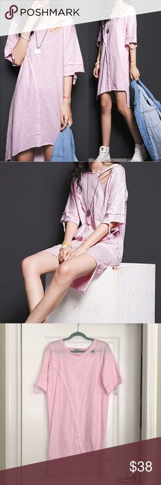 Pink 3/4 Sleeve Cotton T-Shirt Dress NEVER WORN!! Super cute and edgy! You can dress it up or down! My favorite way to style these dresses are with some white kicks and a oversized jacket! Dresses