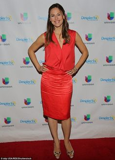 Red hot! Jennifer Garner, 43, showed off her impeccable figure in a form-fitting ensemble ...