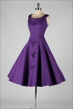 1950's Suzy Perette Purple Faille Cocktail Dress
