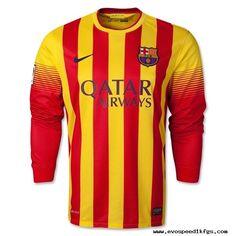 Barcelone 2013-2014 loin manches longues maillots de football Camisas De  Futbol 68c7a69731d75