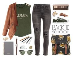 """""""Back to school"""" by elly3 ❤ liked on Polyvore featuring Balmain, H&M, Element, Converse, Urban Decay, J.Crew, Mulberry, Ray-Ban, Natalie B and BackToSchool"""