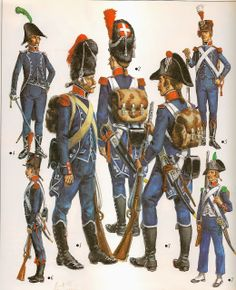 Light Infantry. 1 to 4 are c 1793, 5 & 6 c 1801 and 7 c 1796. A colour plate by L & F Funken