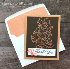 Blended Seasons stamp set heat embossed in Grapefruit Grove Stampin' Emboss Powder on Early Espresso card stock - Mary Fish Stampin Pretty, Stampin Up, Horse Cards, Mary Fish, Hand Made Greeting Cards, Stamping Up Cards, Pretty Cards, Creative Cards, Cool Cards