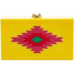 Charlotte Olympia Serape Pandora Clutch ($529) ❤ liked on Polyvore featuring bags, handbags, clutches, yellow, acrylic purse, lucite purse, lucite handbag, embellished handbags and clasp purse