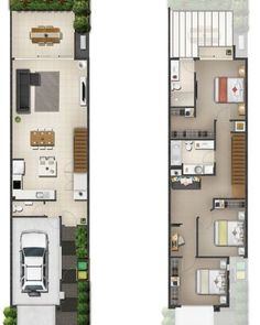 Home design trends floor plans 40 trendy ideas Narrow House Designs, Narrow Lot House Plans, Small House Floor Plans, Duplex House Plans, Garage House Plans, Small House Design, Dream House Plans, Modern House Plans, Modern House Design