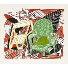 On March 31 and April 1, Bonhams will host a sale of Lauren Bacall's art and antiques collection in New York. For more information, visit bonhams.com.  Pictured: Two Pembroke Studio Chairs, from Moving Focus, 1984, David Hockney. Estimate $5,000 to $7,000.
